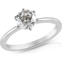 LUSTRO STELLA Platinum Over Sterling Silver Solitaire Ring (Size 7.0) Made with Zirconia (Rnd 6.25 mm) from Swarovski 1.65 ctw