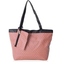 Beige with Red Floral Pattern Satin Black Trimmed Tote Bag (15.5x4.5x10 in) with Matching Detachable Coin Bag (6x4.5 in) found on Bargain Bro Philippines from Shop LC for $39.99