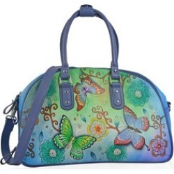 SUKRITI - Blue and Green Floral Butterfly Hand Painted 100% Genuine Leather Duffel Bag (18x7.5x11 in) with Removable Shoulder Strap (56 in) found on Bargain Bro India from Shop LC for $549.99