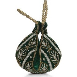 Forest Green Velvet Embroidered Leaf Pattern Potli Fortune Cookie Bag (6.5 in) found on Bargain Bro from Shop LC for USD $30.39