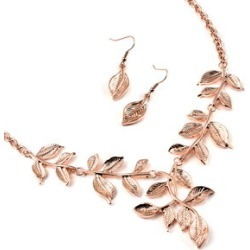 Leaf Earrings and Necklace 22 Inch in Rosetone and ION Plated Rose Gold Stainless Steel found on Bargain Bro India from Shop LC for $59.99