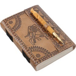 Handcrafted Camel Embossed Leather Journal with Wooden Pen (7x4.5)