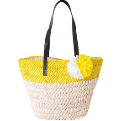 Yellow Straw Flower Beach Tote with Faux Leather Strap (11.5x5x12 in) found on Bargain Bro Philippines from Shop LC for $59.99