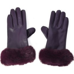 Purple Women's Faux Fur Leather Touchscreen Gloves (One Size, Polyester)
