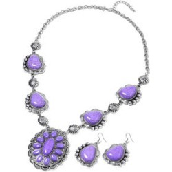 507.07 ctw Purple Howlite Earrings and Necklace 24-26 Inch in Black Oxidized Silvertone and Stainless Steel found on Bargain Bro India from Shop LC for $49.99