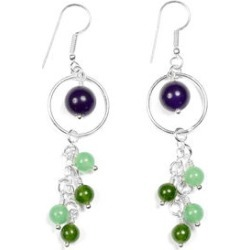 Gem Workshop Purple and Green Quartz Earrings Kit in Silvertone 23.80 ctw