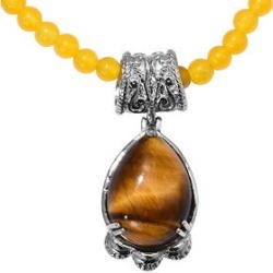 77.23 ctw South African Tigers Eye and Yellow Quartzite Pendant with Beaded Necklace 20 inch in Stainless Steel
