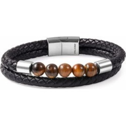 10.00 ctw South African Tigers Eye and Braided Leather Bracelet in Stainless Steel (8.50 In)