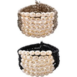 Set of 2 Cream and Black Bead Cuff Bracelets in Silvertone