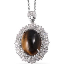17.38 ctw South African Tigers Eye and Simulated Diamond Pendant Necklace 20 Inch in Silvertone and Stainless Steel