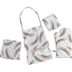White, Multi Color Trio Lined Pattern 4pc Apron (One Size), Oven Mitt, Pot Holder and Kitchen Towel (16x26) found on Bargain Bro Philippines from Shop LC for $39.99