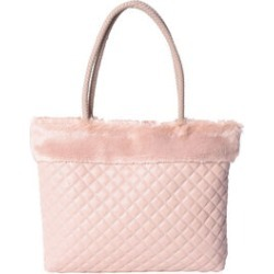 Blush Faux Leather Quilted Tote with Faux Fur Trim (12x17.5x2.5) found on Bargain Bro from Shop LC for USD $121.59