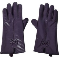 Purple Women's Bowtie Leather Touchscreen Gloves (One Size, Polyester)