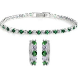 Simulated Emerald and Simulated Diamond Hoop Earrings and Tennis Bracelet in Silvertone (7.00 In) found on Bargain Bro India from Shop LC for $79.99