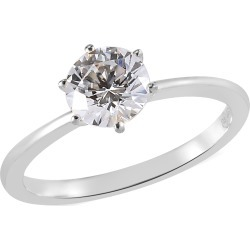 LUSTRO STELLA Platinum Over Sterling Silver Solitaire Ring (Size 8.0) Made with Zirconia (Rnd 6.25 mm) from Swarovski 1.65 ctw