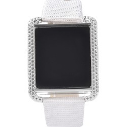 STRADA China Digital China Movement LED Display Watch in Faux Leather & Stardust Band and Stainless Steel Back