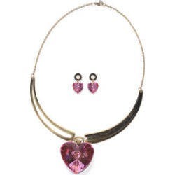 Simulated Pink Quartz Heart Earrings and Necklace 20 Inch in ION Plated Yellow Stainless Steel found on Bargain Bro India from Shop LC for $59.99
