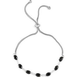 Simulated Black Diamond Bolo Bracelet in Sterling Silver and Stainless Steel found on Bargain Bro Philippines from Shop LC for $79.99