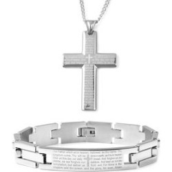 Lord's Prayer Bracelet 8.50 inch and Cross Pendant Necklace in Stainless Steel (24.00 In) found on Bargain Bro India from Shop LC for $269.99