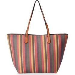 Red, Multi Color Stripe Pattern Faux Leather Tote Bag (18x12x4 in) found on Bargain Bro from Shop LC for USD $75.99