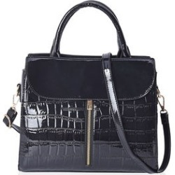 Closeout Deal Black Crocodile Embossed Patent Faux Leather Structure Bag (11x9x4.5) found on Bargain Bro India from Shop LC for $119.99