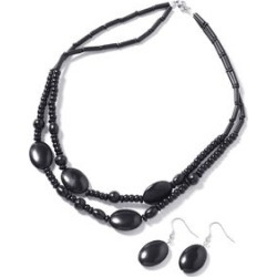310.00 ctw Black Howlite Earrings and Necklace 20 inch in Stainless Steel found on Bargain Bro India from Shop LC for $129.99