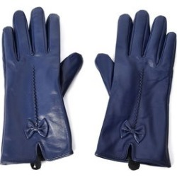 Navy Women's Bowtie Leather Touchscreen Gloves (One Size, Polyester)