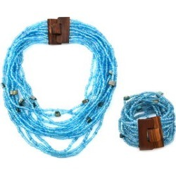 Blue Seed Beads and Shell Wooden Buckle Stretch Bracelet and Multi Strand Necklace 18 Inch found on Bargain Bro India from Shop LC for $69.99