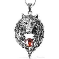 1.20 ctw Simulated Orange Diamond Wolf Head Pendant Necklace Inch in Black Oxidized Stainless Steel found on Bargain Bro Philippines from Shop LC for $69.99