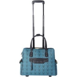 Teal, Black Aztec Pattern Vegan Leather Rolling Tote Carry-on Luggage (19x6x15 in) found on Bargain Bro India from Shop LC for $229.99