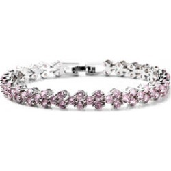 Simulated Pink Diamond Bracelet in Silvertone (7.25 In) found on Bargain Bro Philippines from Shop LC for $59.99