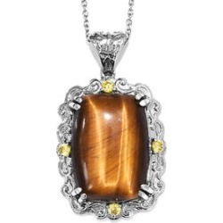 33.75 ctw South African Tigers Eye and Simulated Yellow Diamond Pendant Necklace 20 Inch in Stainless Steel