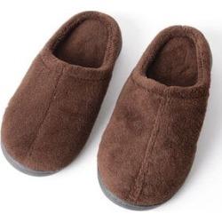 Brown Memory Foam Non-Slip Rubber Sole Slippers -L (11-12)