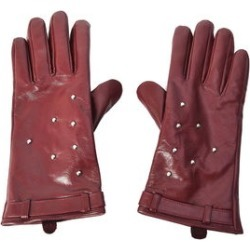 Red Women's Studded Leather Touchscreen Gloves (One Size, Polyester)