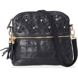CHAOS BY ELSIE Black with 3D Flower Pattern 100% Genuine Leather Crossbody Bag with Standing Studs and Removable Shoulder Strap (10x4x8) found on Bargain Bro Philippines from Shop LC for $159.99