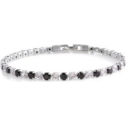 Simulated Black and White Diamond Tennis Bracelet in Silvertone (8.00 In) found on Bargain Bro Philippines from Shop LC for $69.99