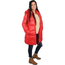 JUICY COUTURE Candy Red Water Repellent Puffer Jacket with Transport Pouch (M, Polyester)