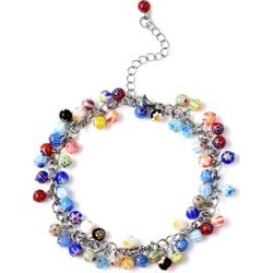 Multi Color Murano Style Bead Charm Anklet 9-11 Inch in Stainless Steel found on Bargain Bro Philippines from Shop LC for $59.99