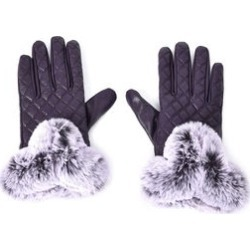 Purple Quilted Pattern Genuine Leather Touchscreen Gloves with Faux Fur (8)
