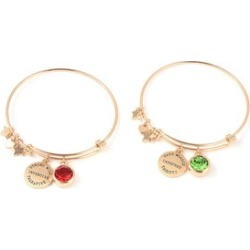 Set of 2 Green and Red Charm Bangle Bracelet 7.50 Inch in Black Oxidized Goldtone found on Bargain Bro Philippines from Shop LC for $59.99