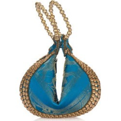 Turquoise, Golden Elephant Embroidery Beaded Potli Fortune Cookie Bag (6.5) found on Bargain Bro from Shop LC for USD $30.39