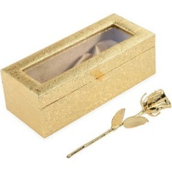 Handcrafted Goldtone Real Rose 6 Inch in Gold Safe Keep Box 8.5x2.75x3.5 in