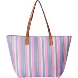 Pink, Multi Color Stripe Pattern Faux Leather Tote Bag (18x12x4 in) found on Bargain Bro from Shop LC for USD $75.99