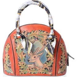 Luxury Orange 3D Engraved Deer Pattern Leather Tote Bag (12x5x9 in) found on Bargain Bro Philippines from Shop LC for $1149.99