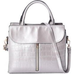 Closeout Deal Gray Crocodile Embossed Patent Faux Leather Structure Bag (11x9x4.5) found on Bargain Bro Philippines from Shop LC for $119.99