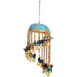 Handcrafted Blue, Multi Color Camel Charm Wind Chime
