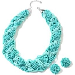 Turquoise Color Seed Bead Silvertone Earrings and Braided Necklace (20 in) found on Bargain Bro India from Shop LC for $129.99