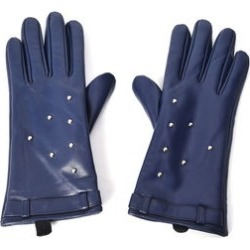 Navy Women's Studded Leather Touchscreen Gloves (One Size, Polyester)