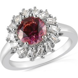 LUSTRO STELLA Platinum Over Sterling Silver Floral Ring (Size 8.0) Made with REd and White Zirconia from Swarovski 3.70 ctw