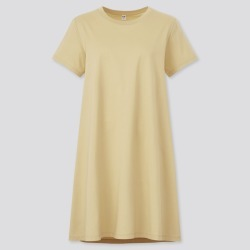 UNIQLO Women's Mercerized Cotton Short-Sleeve Mini Dress, Yellow, M found on Bargain Bro India from Uniqlo US for $19.90